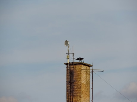 chimney, industry, antenna, tower, outdoors, technology, environment, pollution