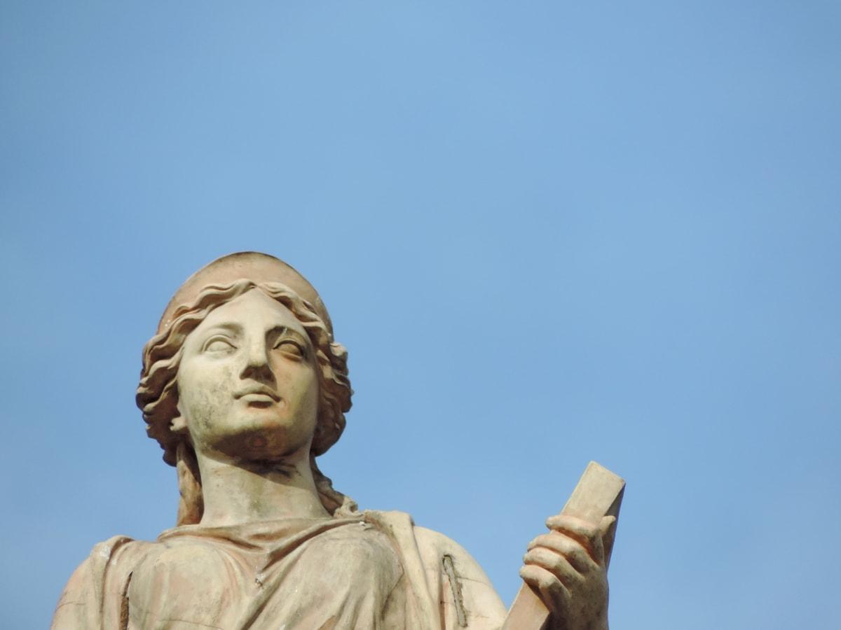blue sky, bust, handmade, woman, sculpture, statue, people, religion