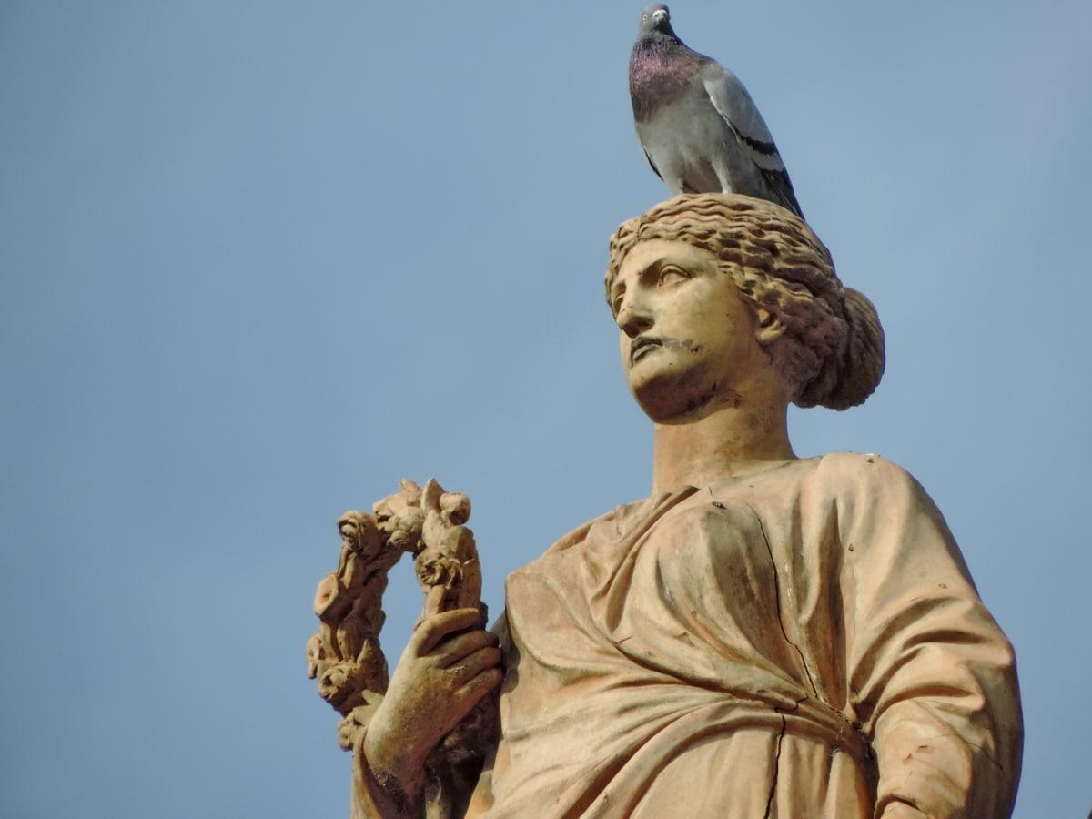starožitnost, Busta, kultura, mramor, holub, Žena, socha, sochařství