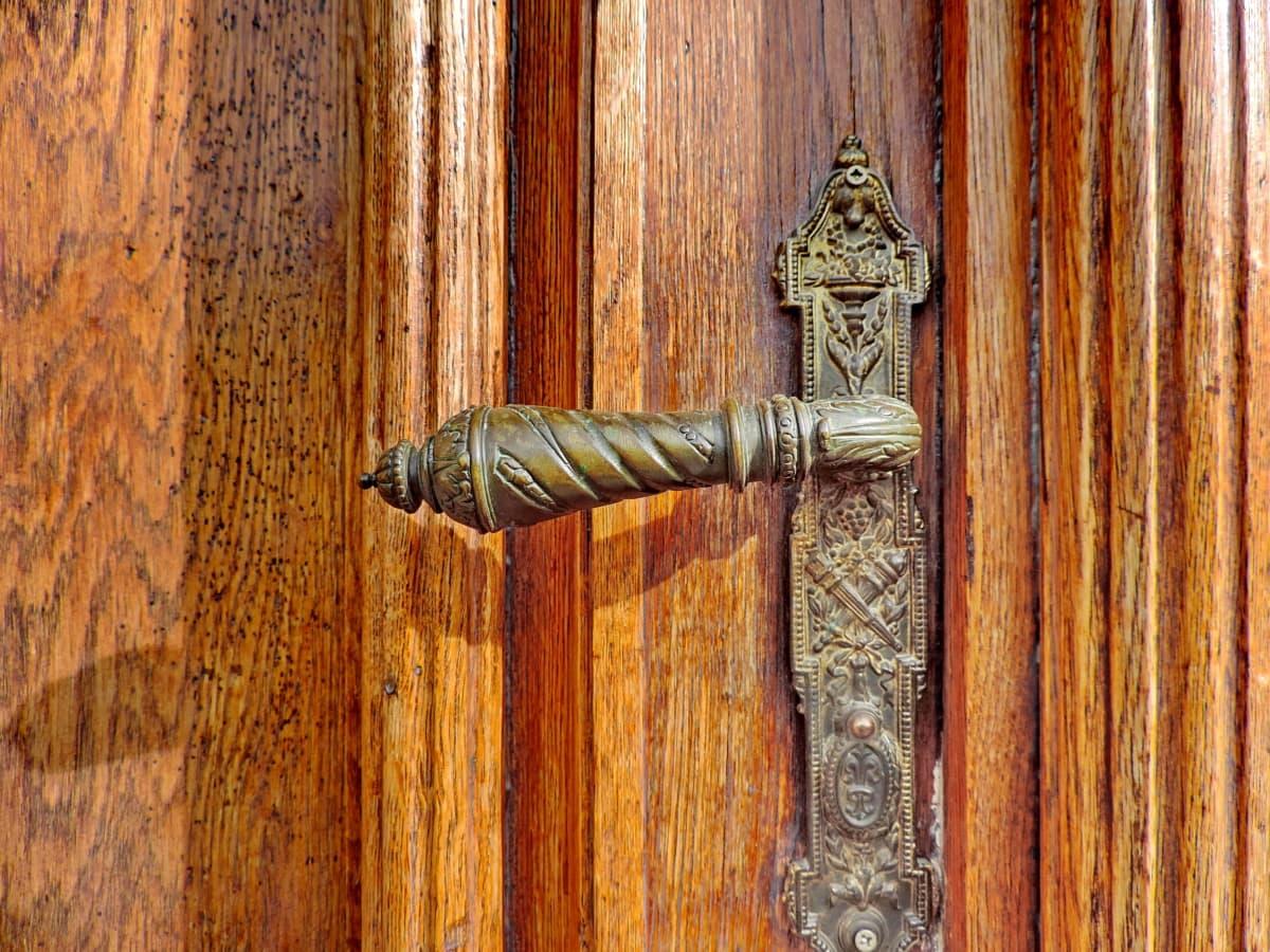 месинг, Украшение, дървен материал, стар, устройство, капаче, дървени, вратата