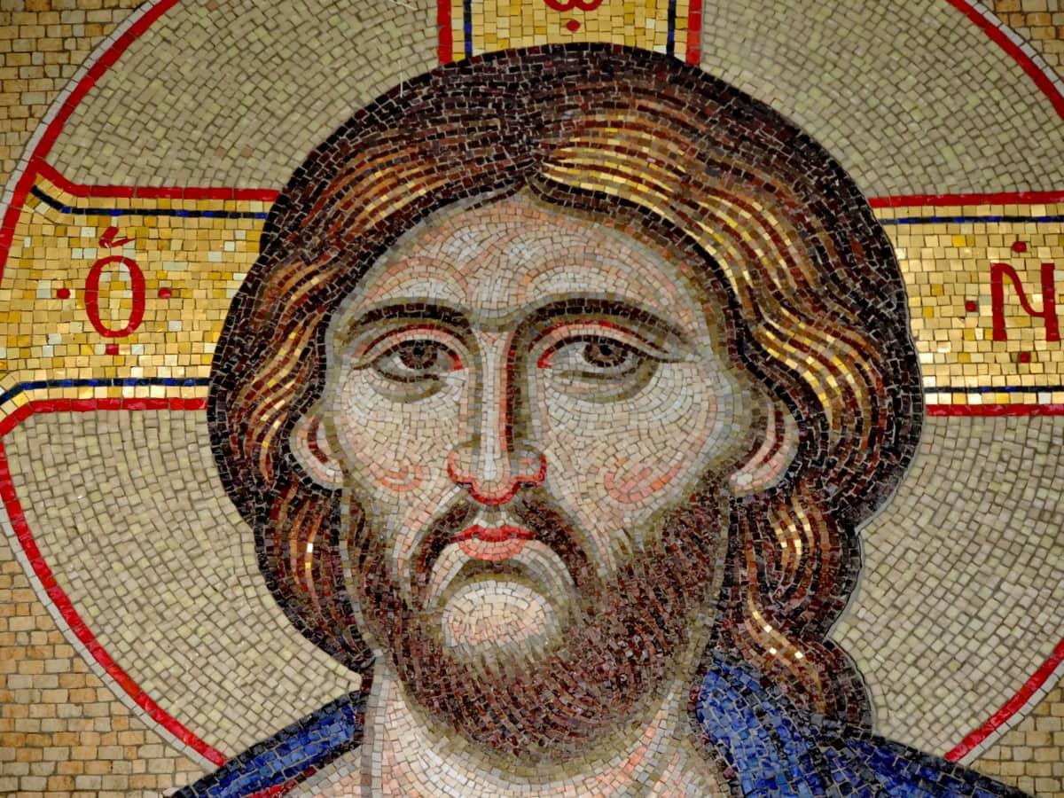 χριστιανική, πρόσωπο, μεσαιωνική, Μοναστήρι, μωσαϊκό, θρησκεία, Αγίου, τέχνη