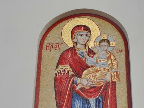 Christ, christianity, icon, mosaic, mother, son, art, religion