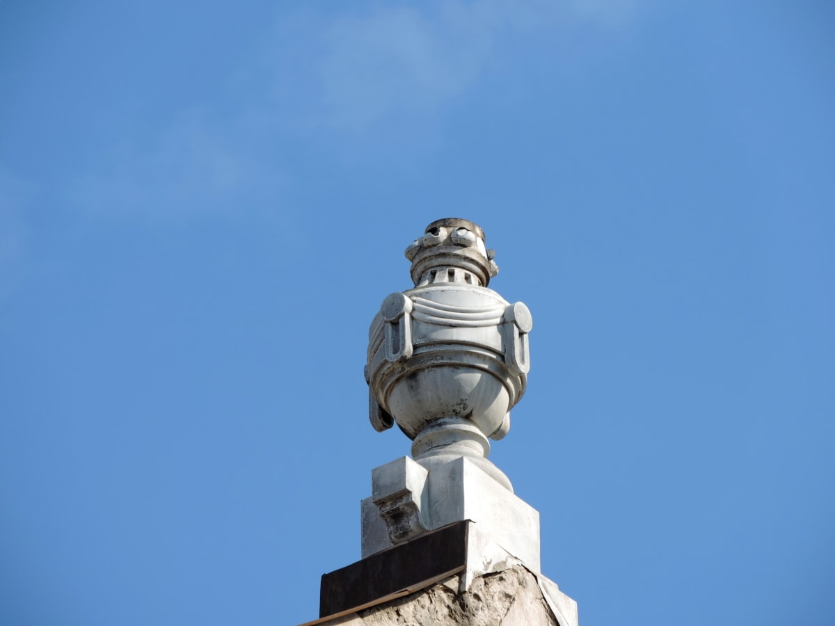 синьо небе, покрив, скулптура, архитектура, на открито, кула, стар, сграда