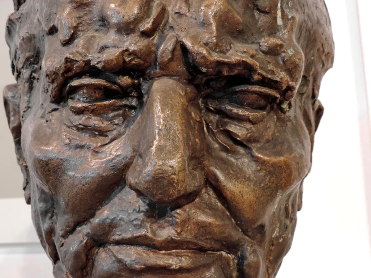 brons, byst, ansikte, allvarliga, skulptur, staty, konst, träsnideri