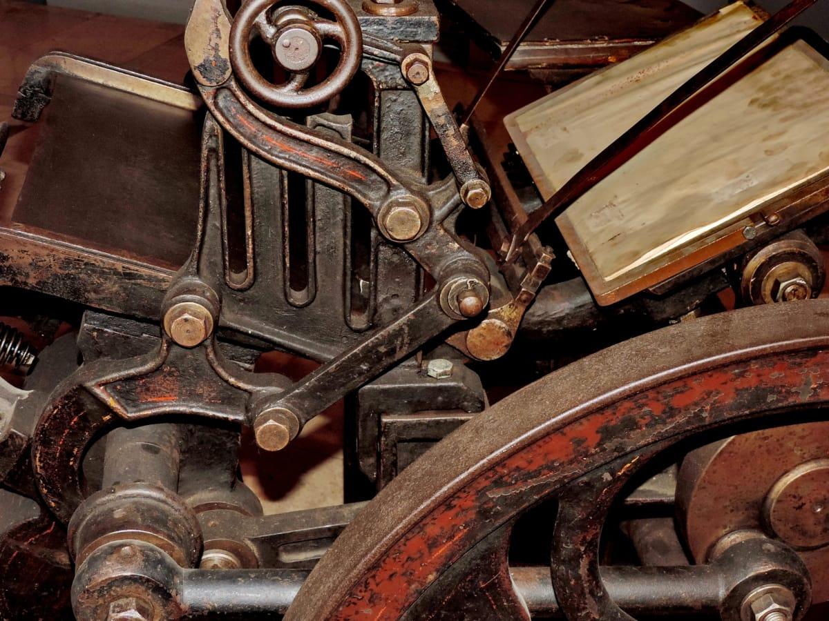 antiquité, fer de fonte, machines, objet, Appuyez sur, rouille, mécanisme de, machine