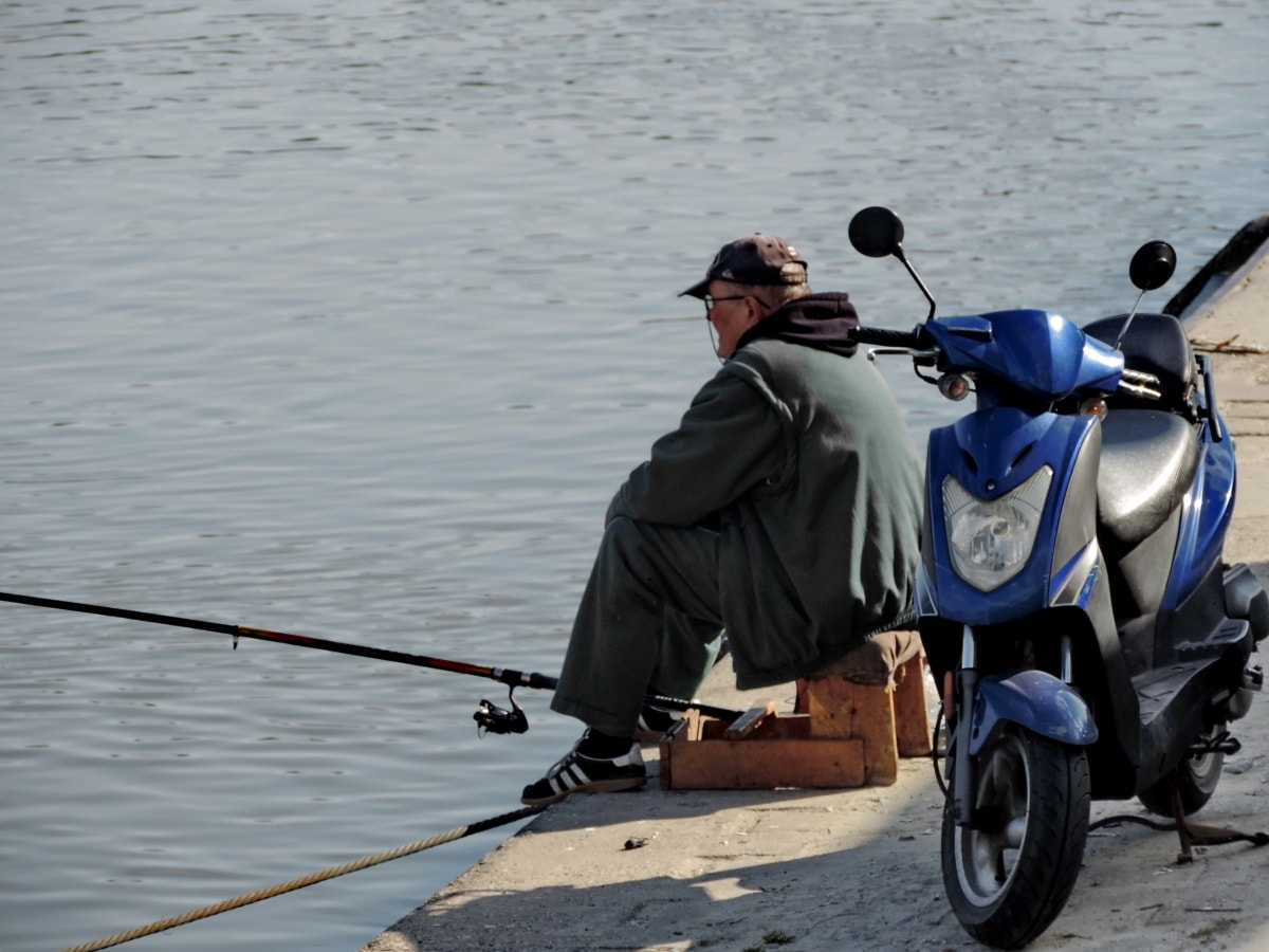 coast, fishing, fishing gear, man, motorcycle, sea, water, people