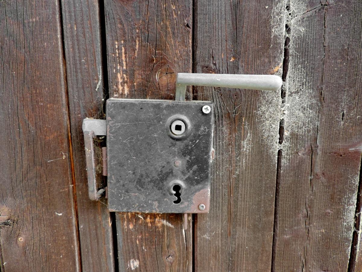 ръчно изработени, ключалка, метал, дървен материал, стар, вратата, заключване, закопчалка