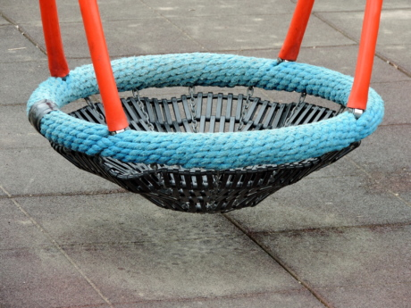 playground, swing, basket, rope, wooden, leisure, seat, empty