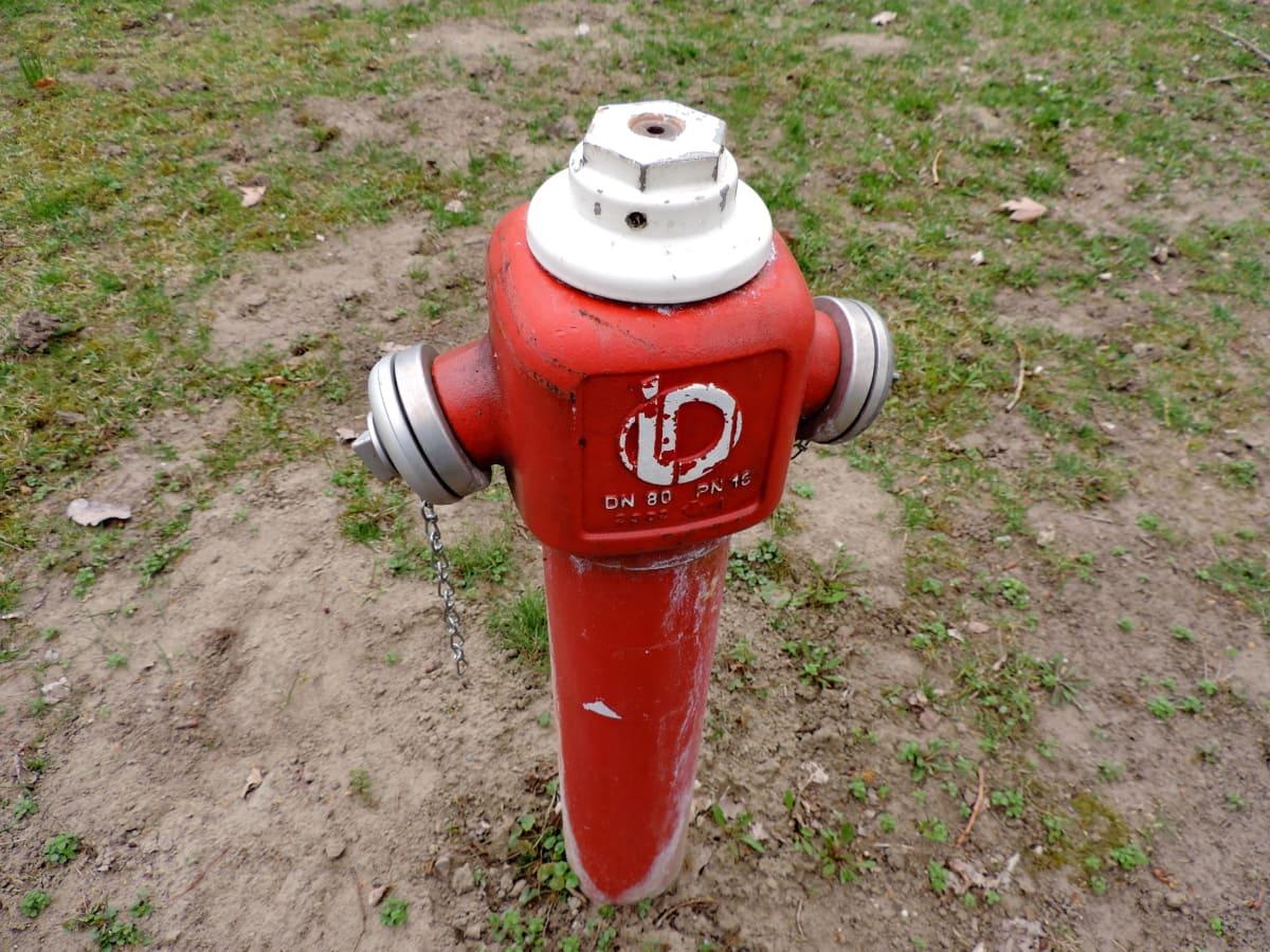 litina, hydrantu, průmyslové, červená, podepsat, mechanismus, zařízení, venku