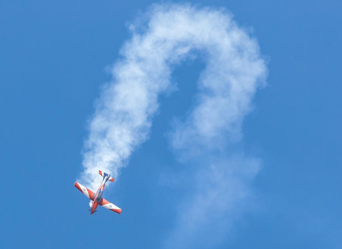 műrepülő, aerodinamikai, repülőgép, kék ég, kirakat, repülés, felhők, repülőgép