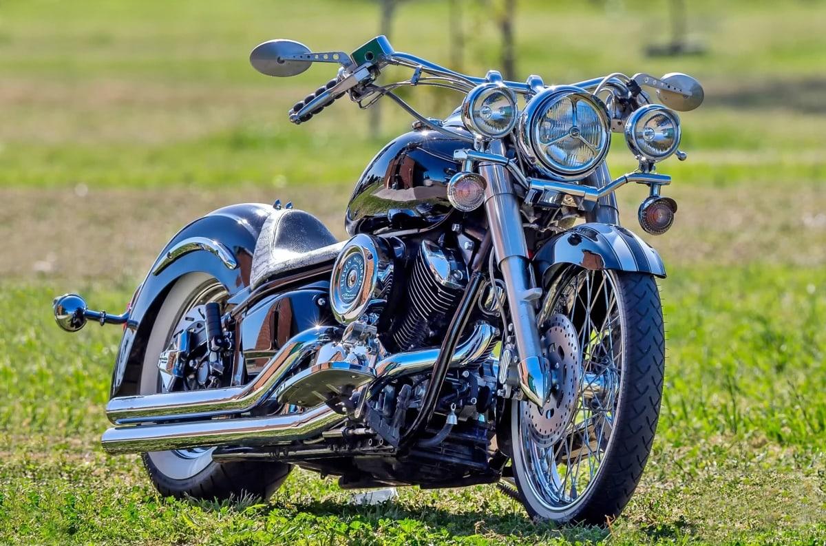 chrome, meadow, metallic, steering wheel, wheel, motorcycle, course, seat