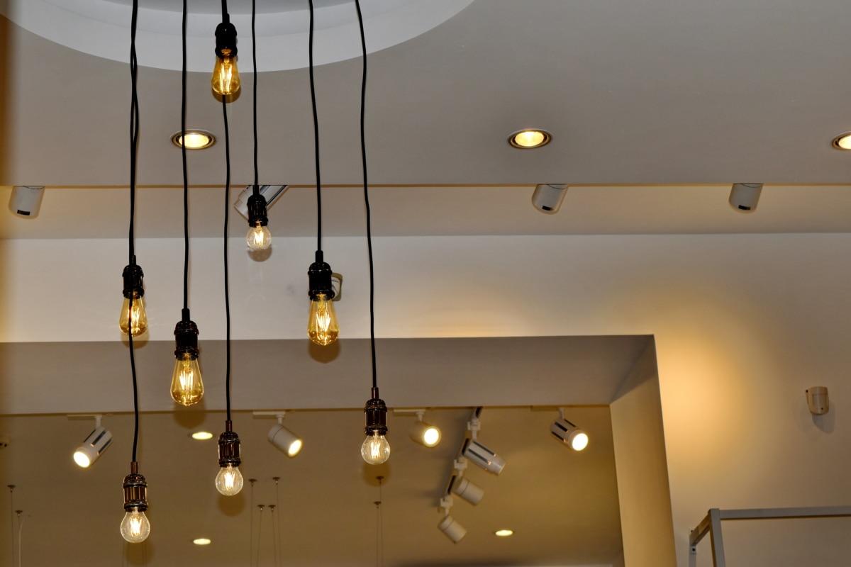 електричество, електрическа крушка, полилей, стая, интериор, лампа, закрито, интериорен дизайн