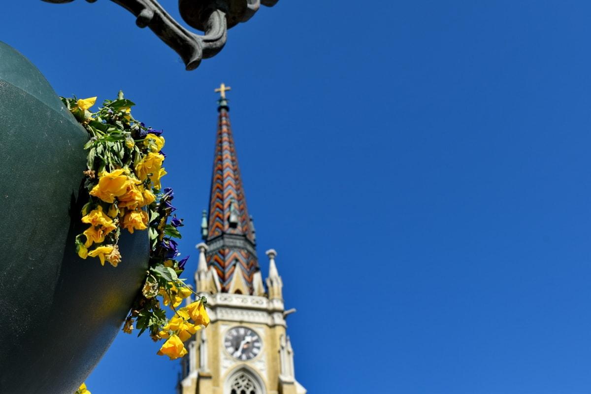 veža kostola, mesto, hodiny, Architektúra, kostol, veža, budova, vonku