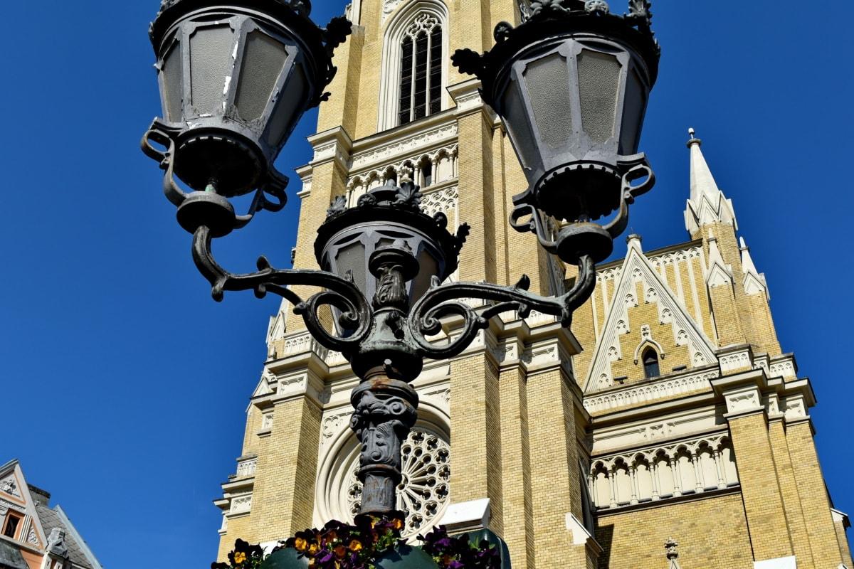 veža kostola, centrum, lampa, pouličné, Architektúra, Lampáš, staré, mesto