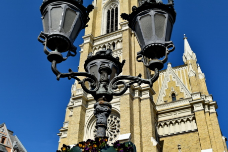 church tower, downtown, lamp, street, architecture, lantern, old, city