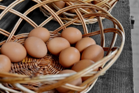 egg, eggshell, market, organic, wicker basket, basket, food, wicker