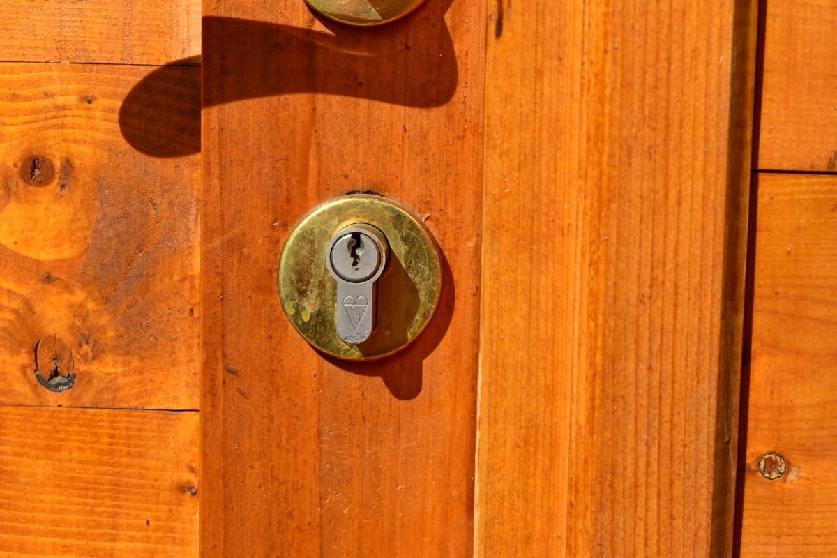 rögzítőelem, zár, régi, ajtó, fa, fa, fogantyú, kulcslyuk