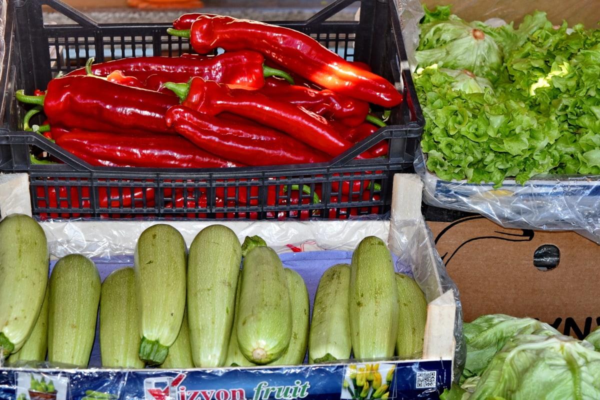 Γεωργία, αγορά, βιολογικά, παράγει, λαχανικά, τροφίμων, κολοκύθι, σούπερ μάρκετ