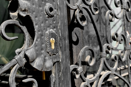 iron, old, steel, door, art, handle, lock, metallic