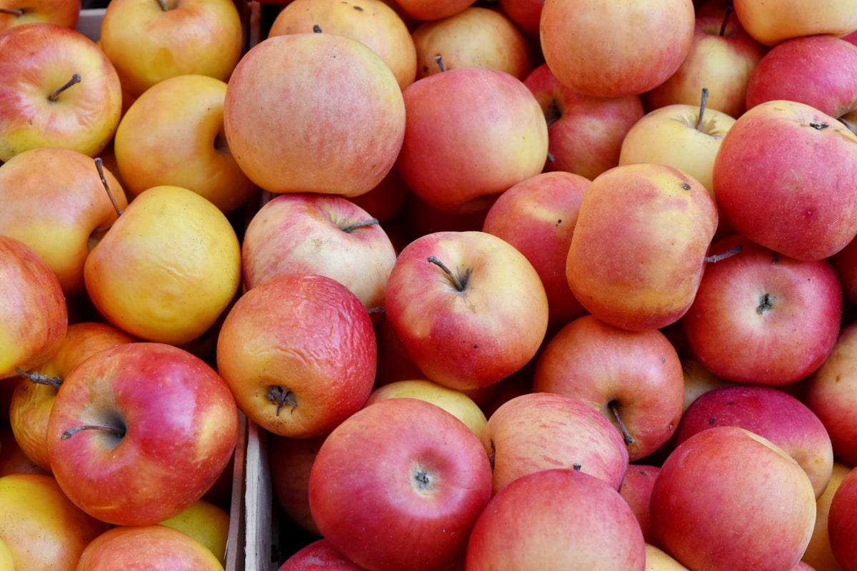 box, trhu, červená, jedlo, jablko, nektárinky, ovocie, produkujú