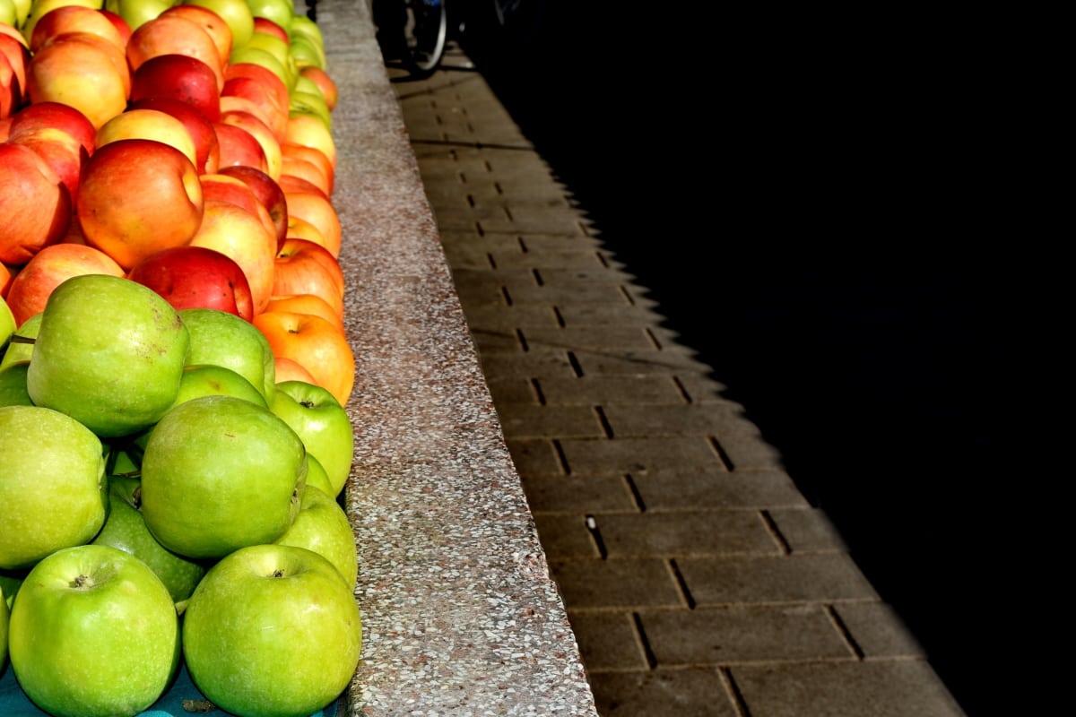 りんご, カラフルです, 市場, ダイエット, フルーツ, 林檎, 柑橘類, レモン