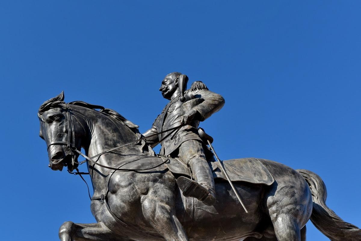 cielo azul, Bronce, busto, caballo, rey, Unido, Monumento, escultura