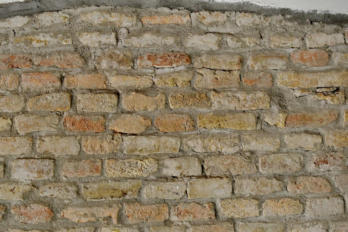 необработен, тухла, стена, повърхност, стар, текстура, камък, цимент