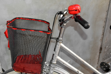 basket, bell, bicycle, chrome, gearshift, steering wheel, equipment, vehicle