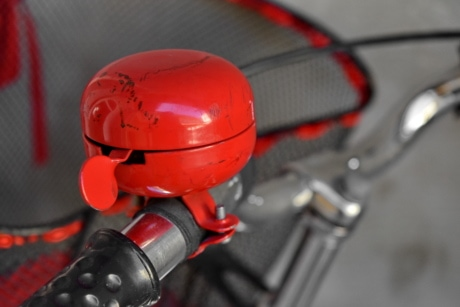 bell, bicycle, decoration, paint, red, steering wheel, vehicle, device