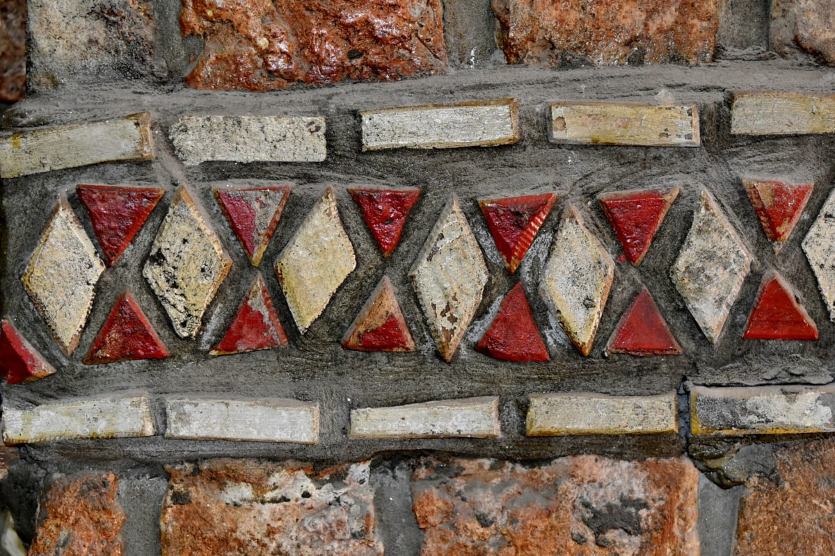 mosaic, ornament, wall, texture, old, dirty, pattern, abstract
