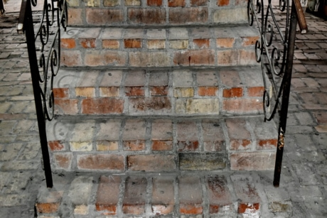 cast iron, staircase, concrete, building, surface, wall, architecture, old