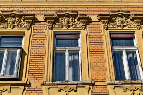 baroque, facade, windows, house, architecture, building, window, old