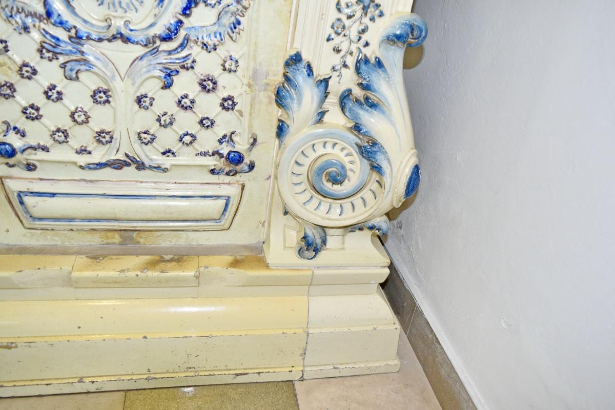 baroque, décoratifs, cheminée, ornement, unique, décoration, conception, vieux