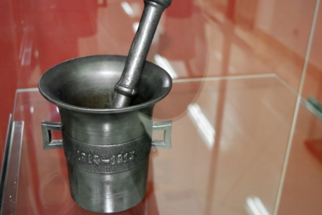 antique, antiquity, cast iron, tool, hand tool, container, pestle, indoors