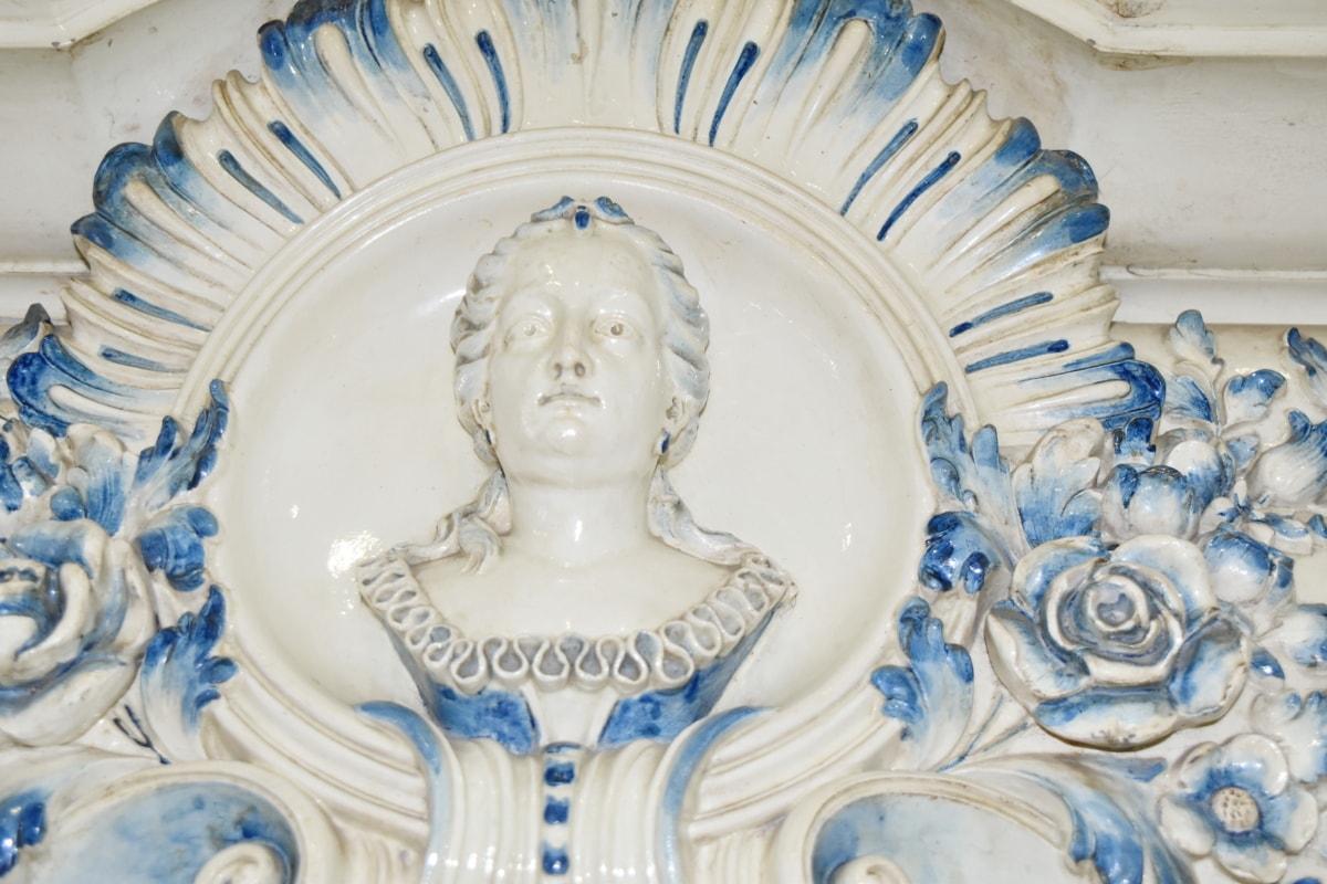 barokní, ručně vyráběné, porcelán, portrét, socha, architektura, dekorace, umění