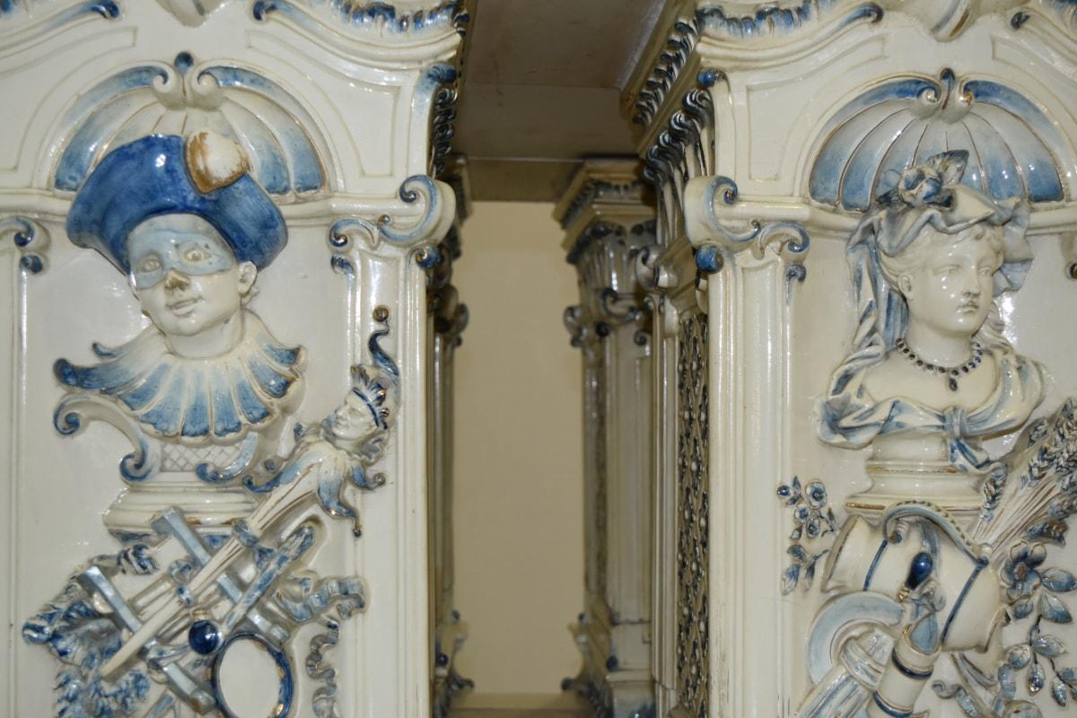 Dekoracja wnętrz, porcelany, portret, wiktoriański, kolumna, architektura, Rzeźba, sztuka