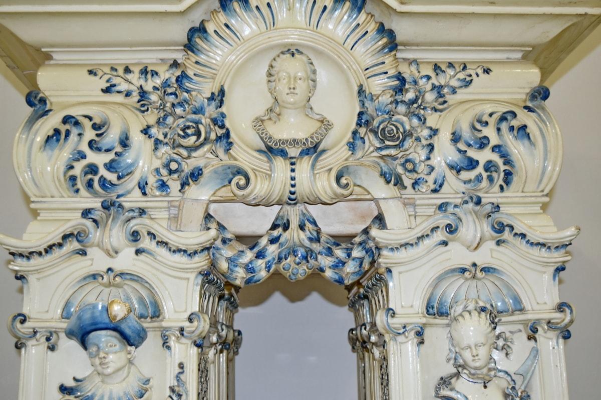 umjetnost, dekoracija, barok, skulptura, drevno, starinsko, stil, dizajn