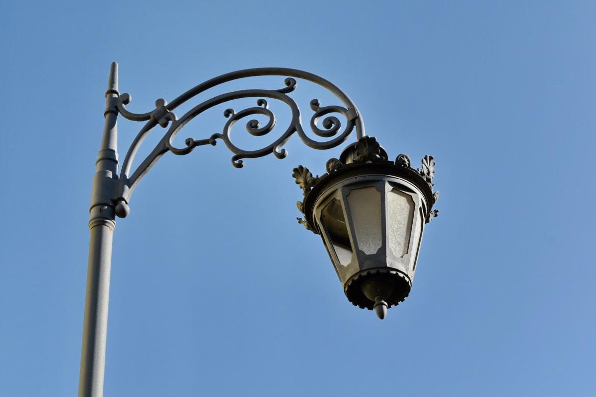 lamppu, lyhty, ulkona, Silitysrauta, teräs, sininen taivas, arkkitehtuuri, kaupunkien