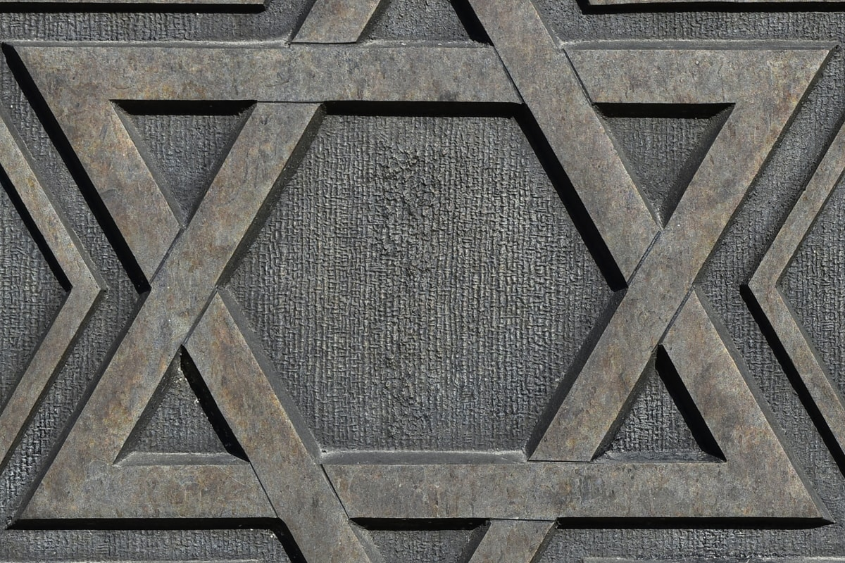 brons, geometriska, skulptur, stjärnigt, symbol, väggen, konsistens, design