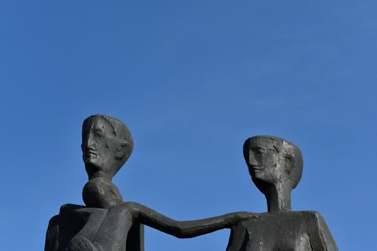Busta, rodina, sochařství, umění, socha, venku, architektura, náboženství