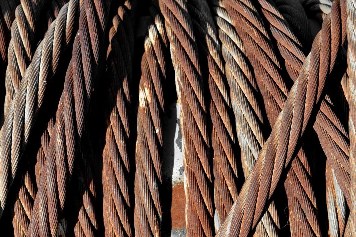 støpejern, rust, stål, linje, tau, knute, flettet, tekstur