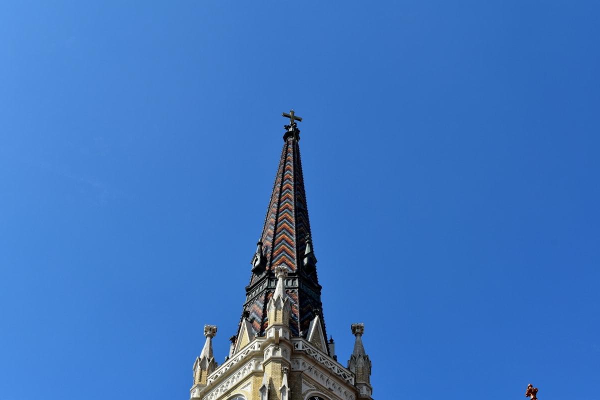 キリスト教, キリスト教, 教会の塔, 公正な天気, カバー, 構築, タワー, ランドマーク