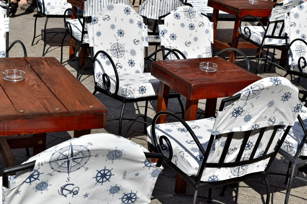 muebles, tabla, silla, asiento, restaurante, adentro, lujo, diseño