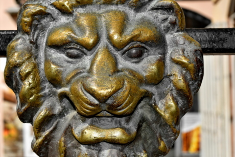 brass, bronze, head, lion, sculpture, culture, statue, art