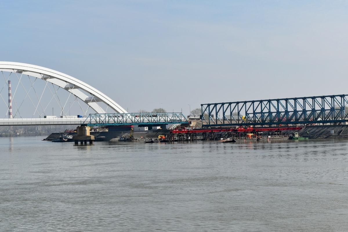 мост, строителство, вода, река, кей, структура, град, архитектура