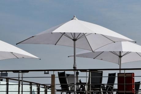nábytok, Luxusné, slnečník, moderné, Architektúra, Technológia, budova, vonku