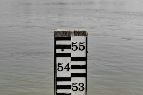 flood, measurement, number, ruler, water, reflection, nature, outdoors