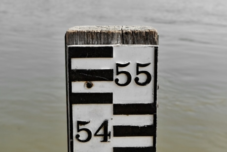 measurement, measuring, sign, water, wood, nature, outdoors, reflection