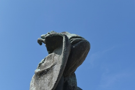 blue sky, bronze, fair weather, sculpture, statue, structure, memorial, art