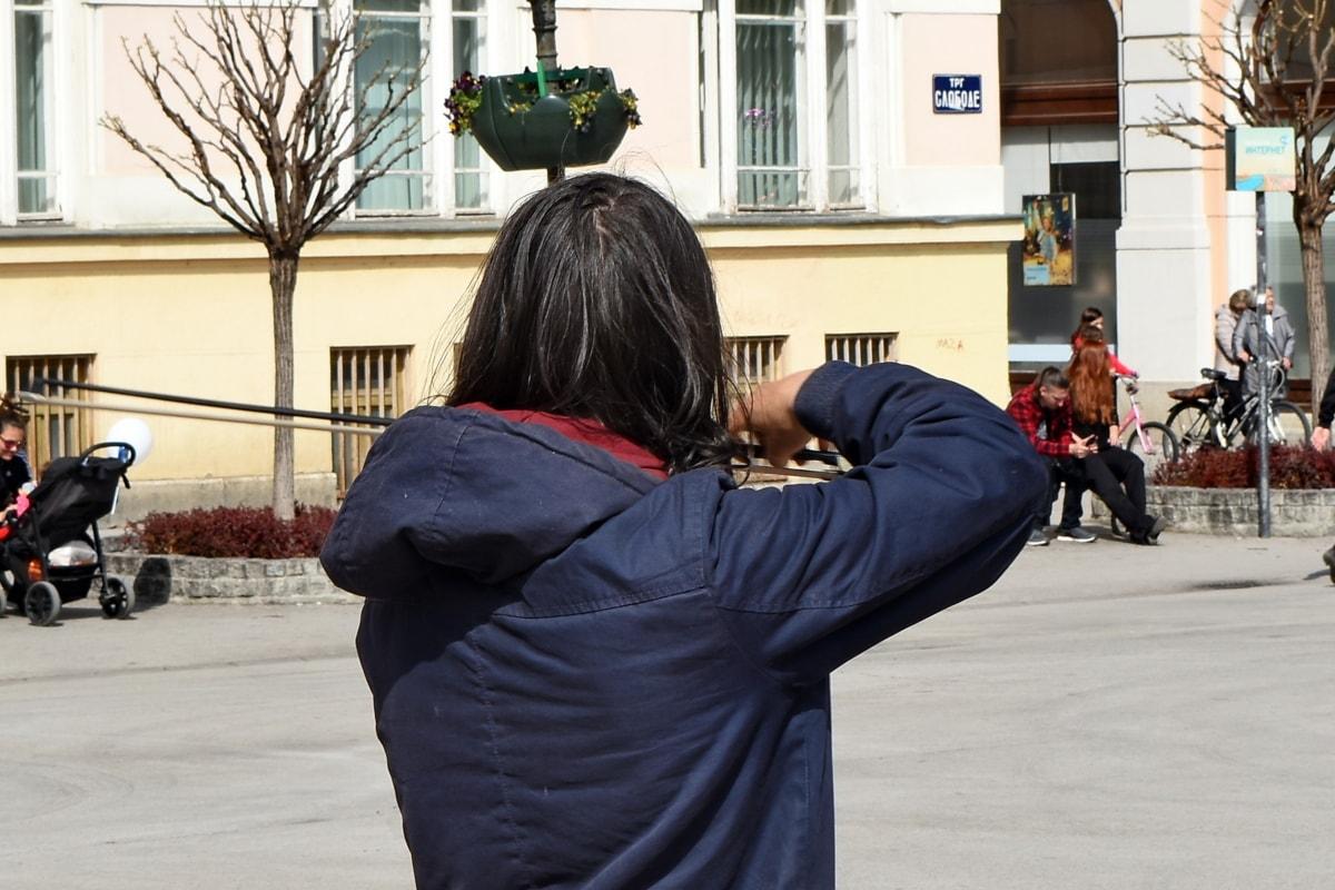 centrum, Hudba, hudobník, ľudia, husle, pouličné, mesto, polícia